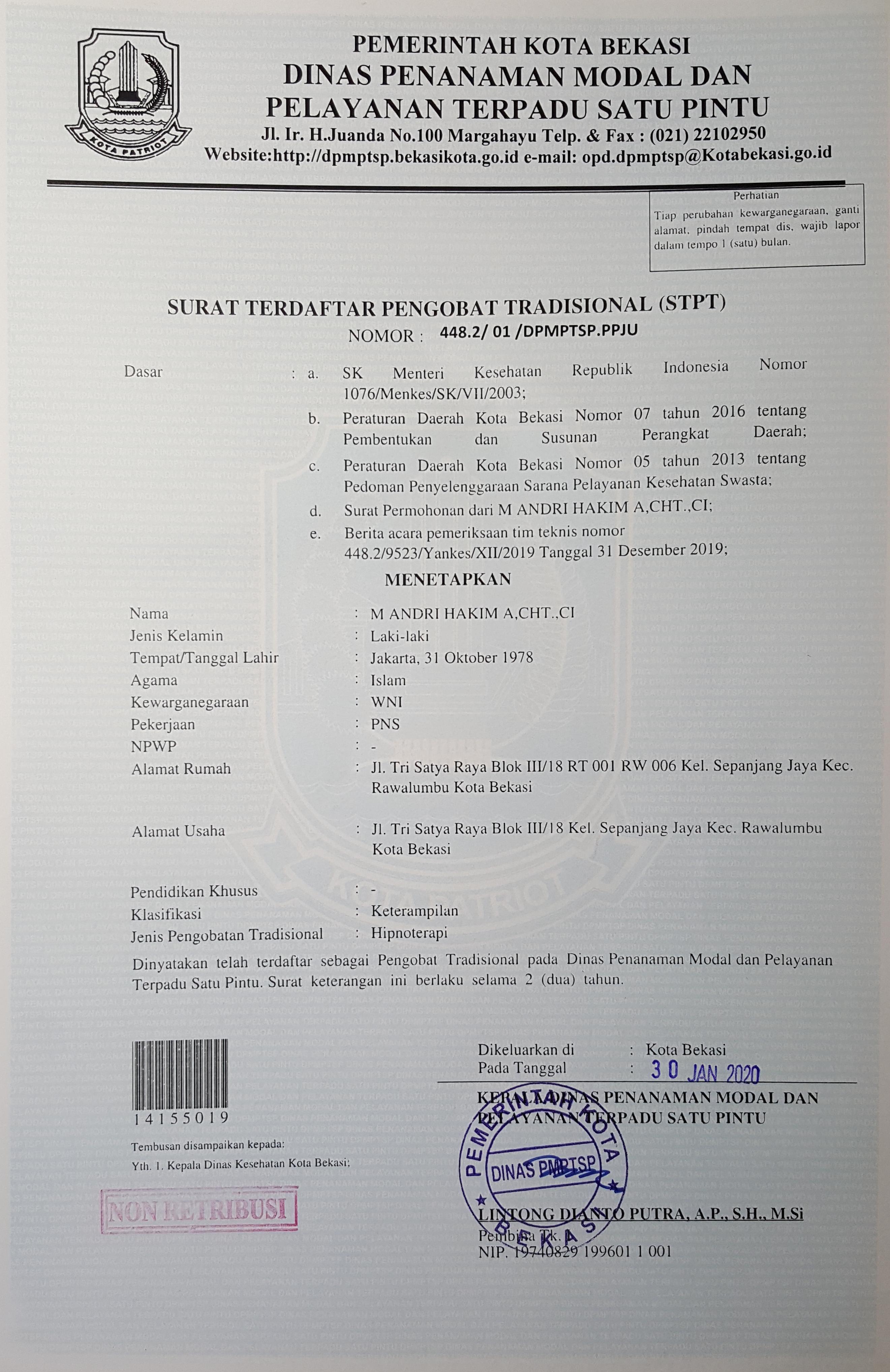 STPT Andri Hakim Bekasi